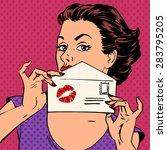 Girl With Envelope For Letter...