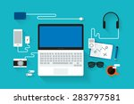 modern workspace   Shutterstock .eps vector #283797581