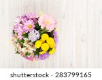 Colorful Flowers Bouquet On...