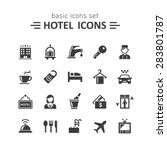 Stock vector hotel icons set 283801787