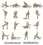 Stock photo set of sex positions kamasutra wooden dummy intercourse sex 283804421