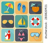 flat design summer icons....