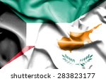 waving flag of cyprus and kuwait | Shutterstock . vector #283823177