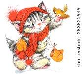 funny kitten and winter... | Shutterstock . vector #283825949