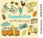 retro summer vacation set with... | Shutterstock .eps vector #283826345