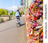 Small photo of Hohenzollern Bridge with padlocks in cologne