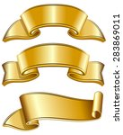 gold ribbon collection isolated ...   Shutterstock .eps vector #283869011