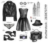 fashionable outfit. watercolor... | Shutterstock . vector #283870799