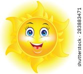 Cartoon Sun  With Happy Face...