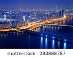 seoul tower and downtown... | Shutterstock . vector #283888787