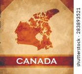 the map of canada on parchment... | Shutterstock .eps vector #283893521