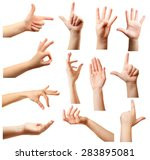 collage of  hands showing... | Shutterstock . vector #283895081
