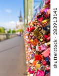 Small photo of padlocks in cologne at the Hohenzollern Bridge