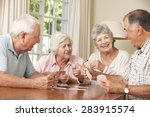 group of senior couples... | Shutterstock . vector #283915574