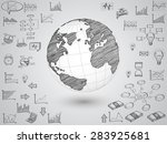 business world map globe with... | Shutterstock .eps vector #283925681