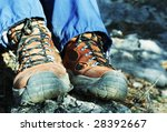 trekking boots close up - stock photo