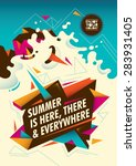 summer poster design with... | Shutterstock .eps vector #283931405