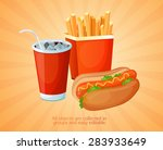fast food  lunch  meal  set | Shutterstock .eps vector #283933649