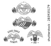 set of vintage fitness emblems... | Shutterstock .eps vector #283935179