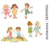children play  dance  talk ... | Shutterstock .eps vector #283945961