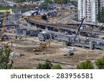 St. Petersburg, Russia - May 30, 2015: Top view of the construction of the viaduct interchange Pulkovo Highway and Dunaisky prospectus. - stock photo