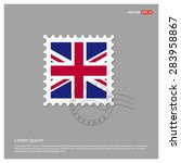 uk flag postage stamp on white... | Shutterstock .eps vector #283958867