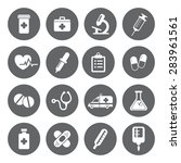 set of medical icons in flat...   Shutterstock . vector #283961561