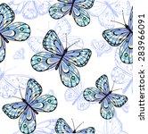 seamless pattern of butterflies | Shutterstock .eps vector #283966091