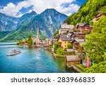 Stock photo scenic picture postcard view of famous hallstatt mountain village with hallstaetter lake in the 283966835
