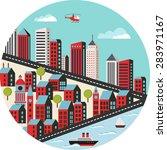 urban landscape in a flat style ... | Shutterstock . vector #283971167