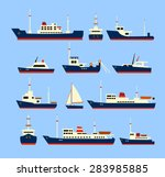ships set. silhouettes of... | Shutterstock . vector #283985885