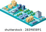 isometric city center on the... | Shutterstock . vector #283985891