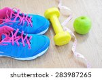 set for sports activities on... | Shutterstock . vector #283987265