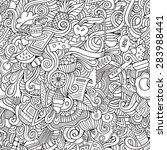 cartoon vector doodles hand... | Shutterstock .eps vector #283988441