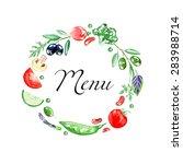 vegetable frame. set of... | Shutterstock .eps vector #283988714