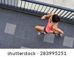 overhead view of active sporty... | Shutterstock . vector #283995251