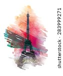 vector illustration of eiffel... | Shutterstock .eps vector #283999271