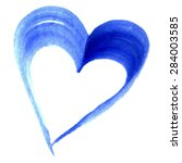 Watercolor Blue Heart Love...