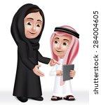 realistic 3d arab teacher woman ... | Shutterstock .eps vector #284004605