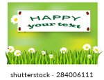 daisies in the grass. summer... | Shutterstock .eps vector #284006111
