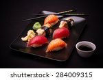 Eel  Salmon And Tuna Sushi Wit...