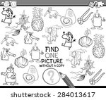 black and white cartoon... | Shutterstock . vector #284013617
