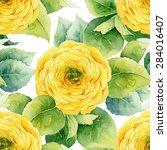 floral pattern. watercolor... | Shutterstock . vector #284016407