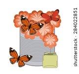 butterflies card design  vector ... | Shutterstock .eps vector #284022851