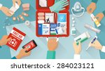 first aid kit with medications... | Shutterstock .eps vector #284023121