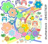 background with owl  flowers... | Shutterstock .eps vector #284037839