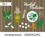 pills  organic oil  herbs ... | Shutterstock .eps vector #284042291