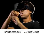virtual reality headset on a...   Shutterstock . vector #284050205