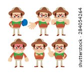 set of young man characters in... | Shutterstock .eps vector #284054264