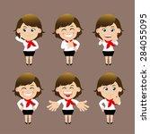 set of businesswoman characters ... | Shutterstock .eps vector #284055095